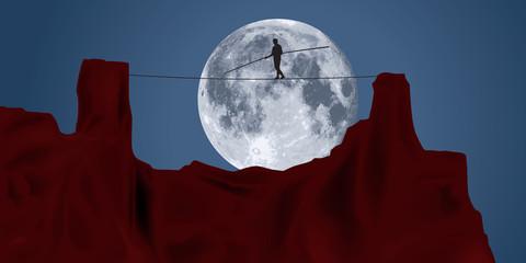 Funambule - équilibre - lune - concept - clair de lune - challenge - corde - rocher - équilibriste