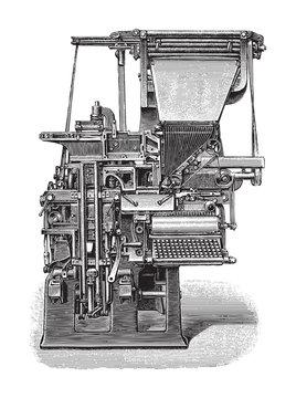 Old linotype machine / vintage illustration