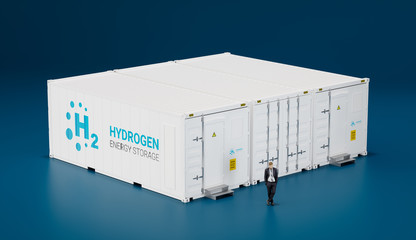Concept of hi tech mobile hydrogen energy storage facility made of shipping containers. 3d rendering.