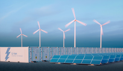 Battery energy storage concept in nice morning light. Li-ion battery energy storage with renewable energy sources - photovoltaic and wind turbine power plant farm. 3d rendering.