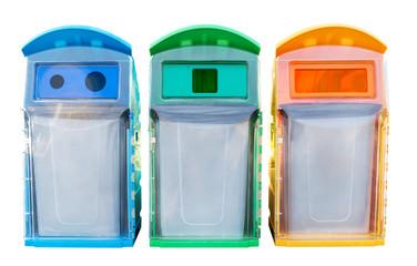 Recycle bin,Trash has a green ,3 color bins, bin
