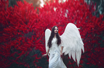 Art photo of a Angelic beautiful woman. A girl with angel wings and a white dress near blood-red trees.