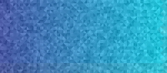 Blue Gradient Background with Low Poly Triangle Pattern. Shiny Crystal Geometric Faceted Texture. Vector Graphic for Web, Mobile Interfaces or Print Design. Horizontal Layout. Wall mural
