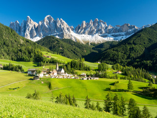 Val di Funes valley, Santa Maddalena touristic village, Dolomites, Italy, Europe. Autumn, 2017 Wall mural