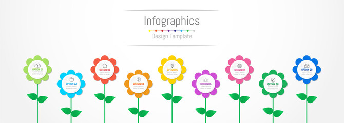 Infographic design elements for your business data with 9 options, parts, steps, timelines or processes, flowers concept. Vector Illustration.