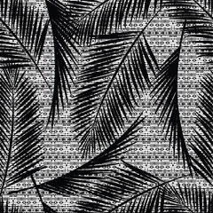 Foto op Canvas Aquarel Natuur Seamless exotic pattern with palm leaves.