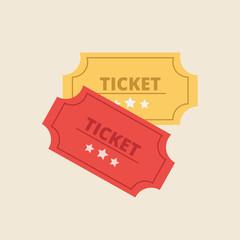 Ticket in flat style. Retro cinema ticket icon. Vector stock.