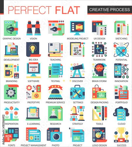 Creative process vector complex flat icon concept symbols ...