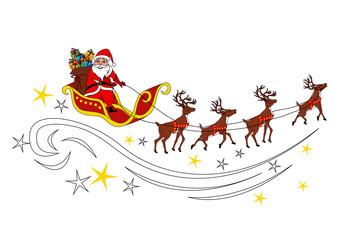 Babbo Natale con renne e slitta