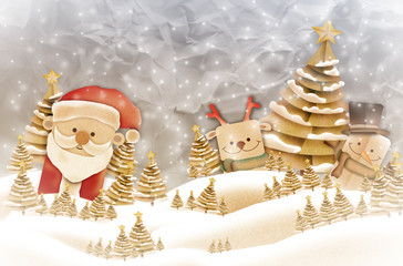 Xmas, Christmas festive card concept with paper art charecter santa and sonowman with pine tree on grey background filter effect