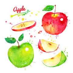 Watercolor illustration set of apples