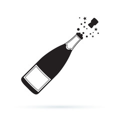 Illustration of champagne bottle explosion icon