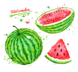 Watercolor illustrations set of watermelon
