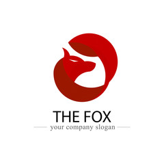 Fox logo design vector icon. Animal and logo banner for company and organization concept. Vector illustration graphic. Golden ratio use