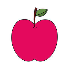 red apple fruit fresh food health icon vector illustration