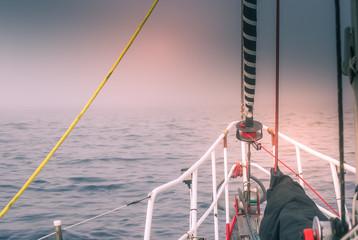 Poster Arctica sailing in the fog - danger