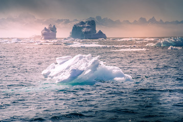 Greenland, arctic, north pole : amazing iceberg on the sea, we can still see this before complete climate change