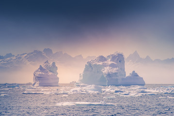 Fotobehang Poolcirkel Greenland, arctic, north pole : amazing iceberg on the sea, we can still see this before complete climate change