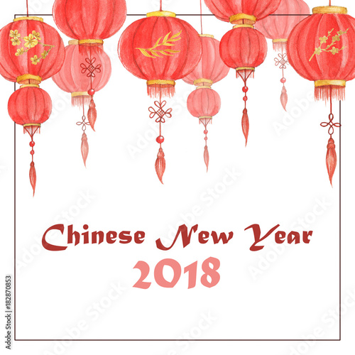 hand drawn watercolor illustration of the chinese lanterns chinese new year 2018 greeting