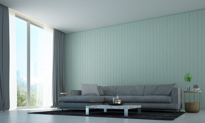 The interior design of modern minimal lounge and livin room and green wall background and garden view