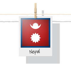 Asian country flag collection with photo of Nepal flag , vector , illustration