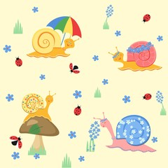 Colorful cartoon funny snail play in the meadow on a yellow background. Pattern textiles, packaging, paper