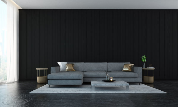 The interior design of luxury lounge and livin room and black wall wall background