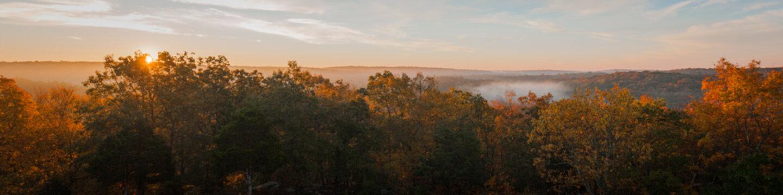 Winter Sunrise Panorama New England Forest