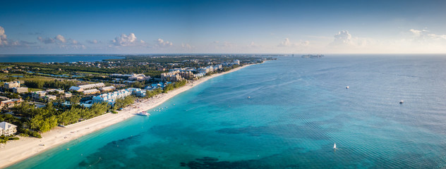 panoramic landscape aerial view of the tropical paradise of the cayman islands in the caribbean sea