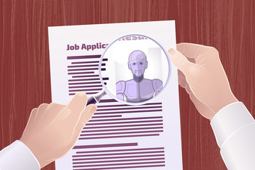 "Hiring Robot For A Job Position. Vector illustration on the subject of ""Technological Displacement Of Jobs / Robotization""."