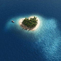 aerial view of heart shape tropical island
