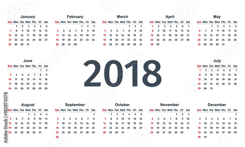 2018 calendar week starts sunday vector graphics stationery 2018 year template in simple