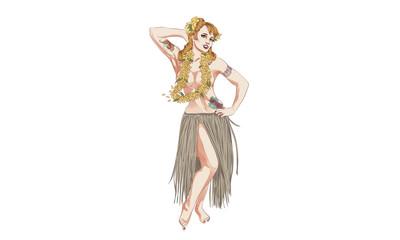 Concept of retro woman woman dancing in Hawaiian dress. Vintage hula girl dancing on the beach