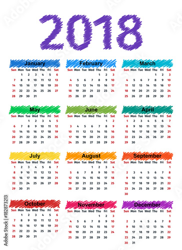 2018 Calendar With Months Week Starts Sunday Vector Graphics