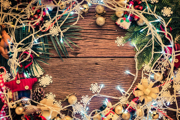 Xmas Christmas and newvyear concept with arrange of decorating items on wooden top with free copy space for your creativity ideas text selective focused at wooden background