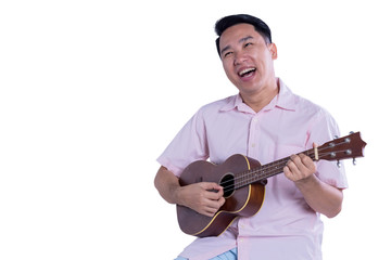 asian man play ukulele with happiness on white background