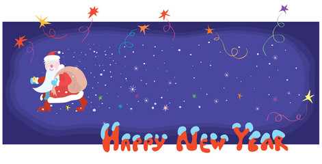 time happy new year/ Santa with a big bag travels the starry sky
