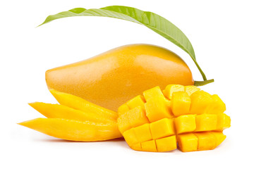 Mango fruit and mango slice with leaf isolated white background