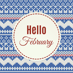 Hello February lettering on knitted background
