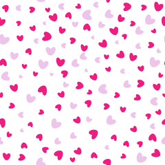 Seamless love pattern. Background of falling red hearts. Valentines confetti falling on white background. Vector