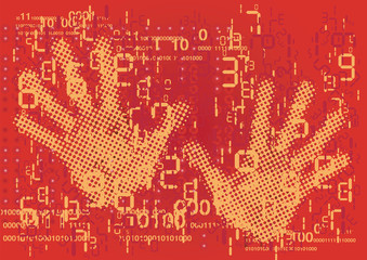 Hands ans grunge digital numbers and binary codes.