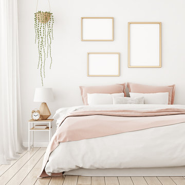 Interior poster mock up with three frames on the wall in home bedroom interior. 3D rendering.