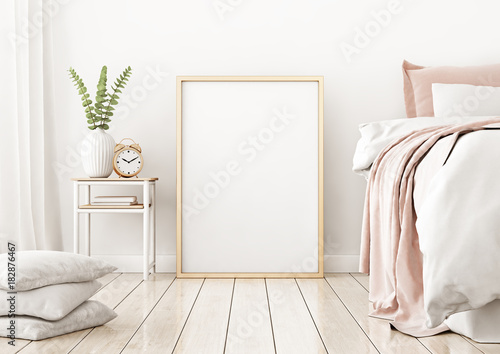Interior Poster Mock Up With Vertical Frame On The Floor In Home