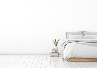 Home interior wall mock up with unmade bed, plaid,cushions and plant in white bedroom. Free space on left. 3D rendering.