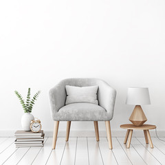 Livingroom interior wall mock up with gray velvet armchair, cushion, books, lamp on table and plant in vase on empty white background. 3D rendering.