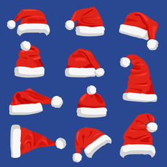 Set of Santa Claus Hats Vector Illustration