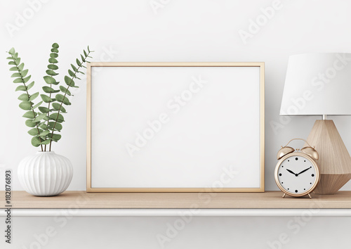 Home Interior Poster Mock Up With Horizontal Metal Frame Plant In