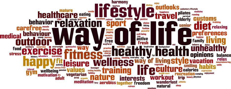 Way of life word cloud