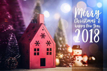 Xmas, Christmas and new year concept with arrange of decorating items on wooden top with free copy space for your creativity ideas text selective focused at brown leather background