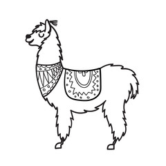 Vector illustration of cute character south America lama with decorations. Isolated outline cartoon baby llama. Hand drawn Peru animal guanaco, alpaca, vicuna. Drawing for print, fabric.